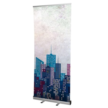 Grasshopper banner stand with printed graphic