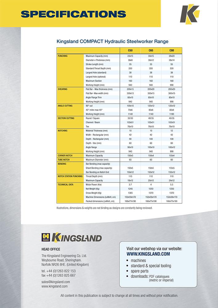 Kingsland Engineering brochure design - back cover