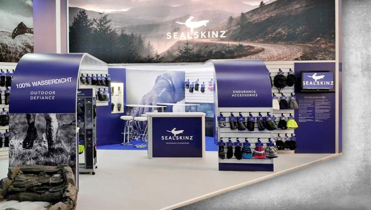 Sealskinz exhibition stand with seating areas and product display shelving