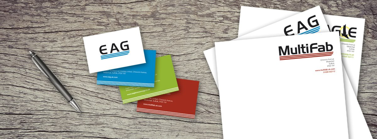 Branded set of business cards and letterheads in three colours
