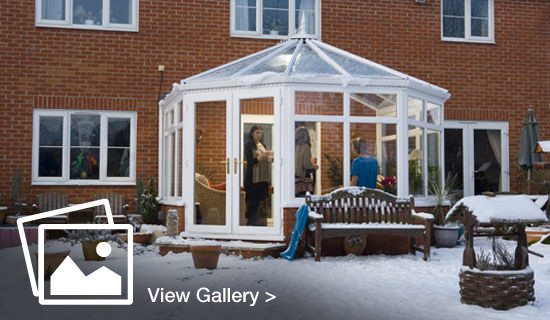 Conservatory dusted by snow