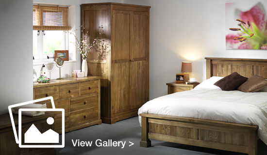 Bedroom set with wooden furniture