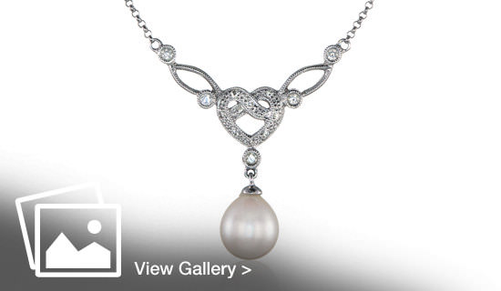 Silver pearl necklace shot by jewellery photographer