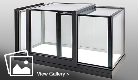 Glazing vision sliding window on grey background