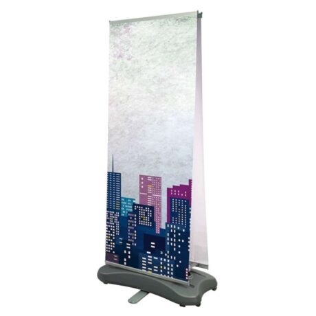 Outdoor all weather tension banner with water fillable base