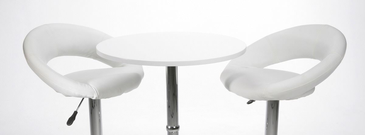 White bar stools and table