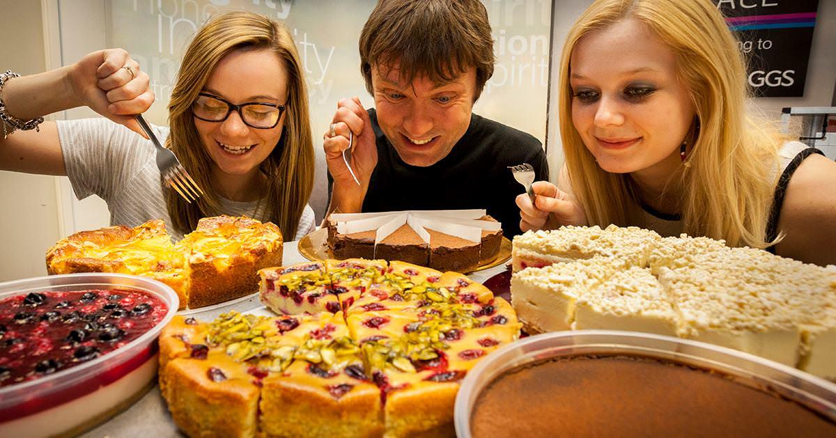 Some of the GGS team enjoying Indulgence cake