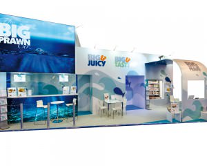 The Big Prawn Co stand with lightboxes, freezers, seating areas and display cabinets