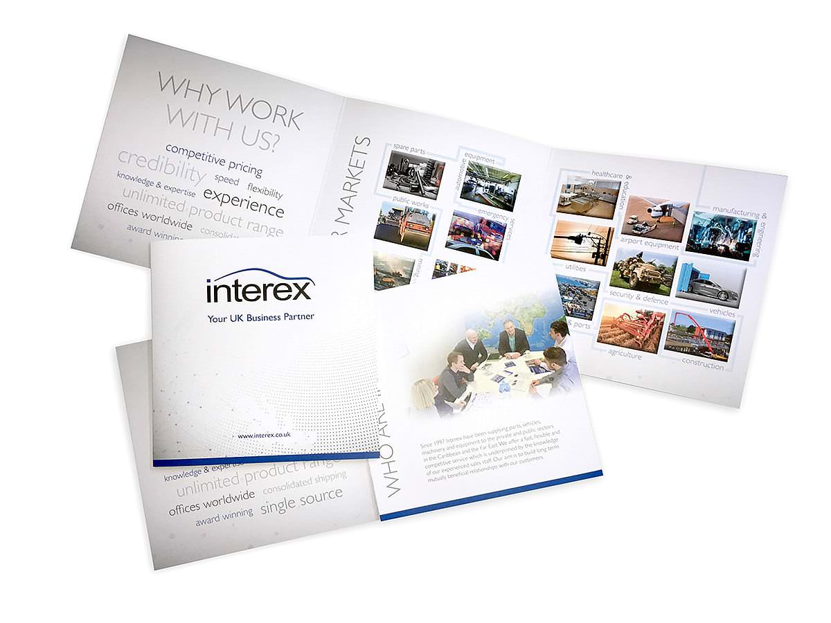 Interex brochure 6pp design and print example from GGS