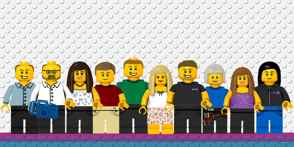 Lego characters resembling the GGS team stood in a line.