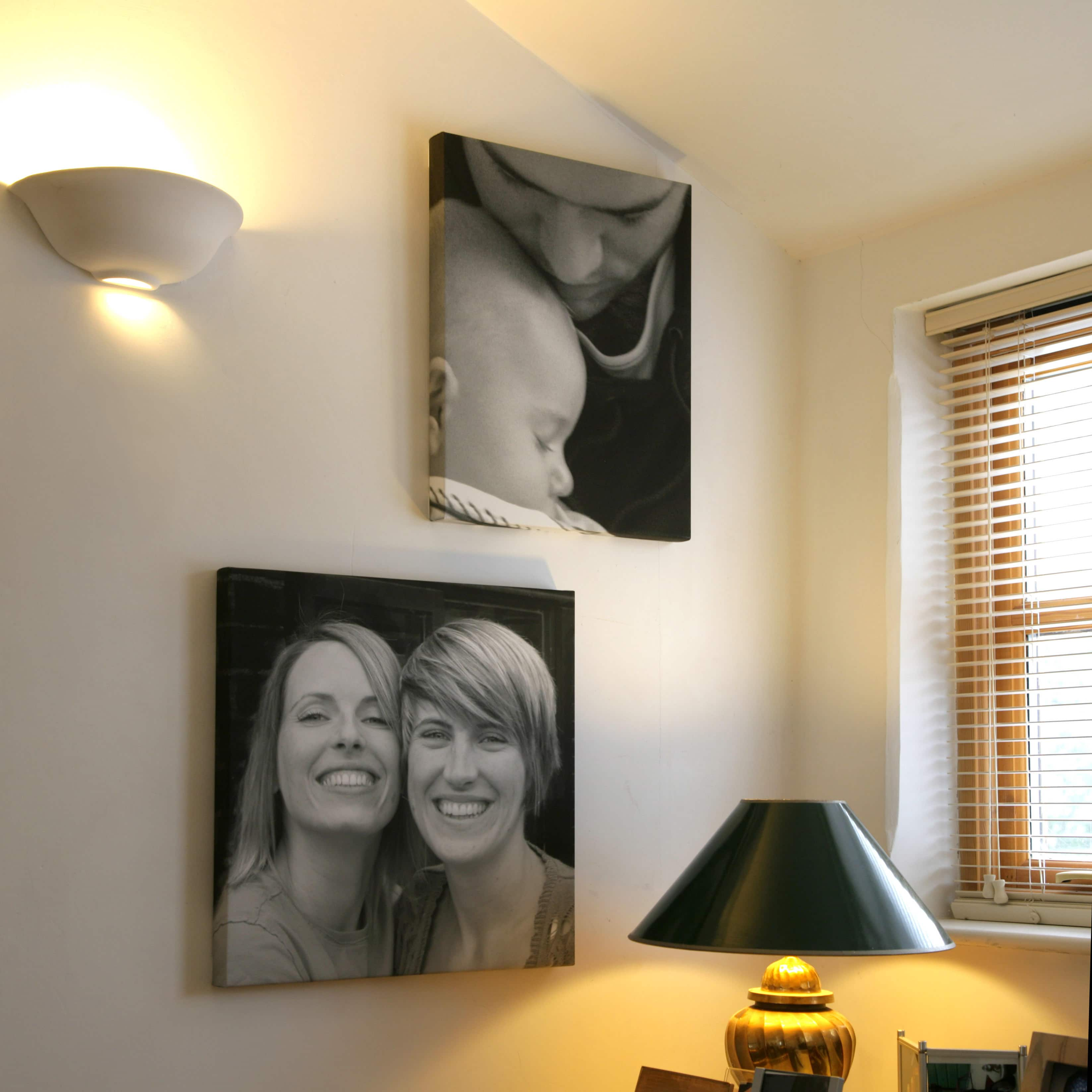 Family portrait canvases in black and white