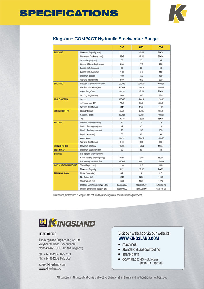 Kingsland Engineering brochure design - back cover