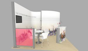 Side view of 3D stand mock-up