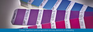 Close-up of Pantone colour booklet in branded colours