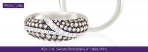 High-end jewellery photography and retouching