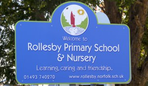 Sign for Rollesby Primary School printed by GGS