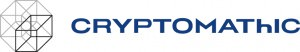 Cryptomathic logo in blue