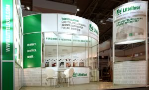 Littelsure exhibition stand before show with hire furniture