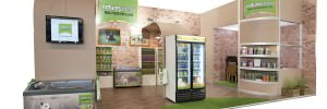 Natures Menu large exhibition stand with storage areas for pet food