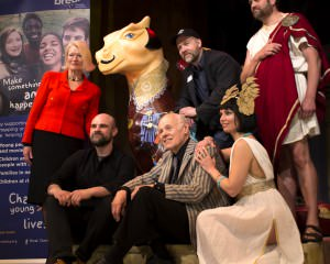 Maddermarket theatre production of Anthony and Cleopatra pose with Shakespeare Dragon