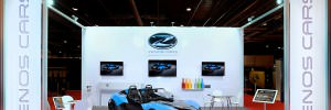 Simple and clean exhibition stand with Zenos Car featured and wired in