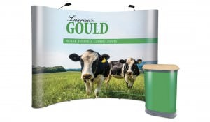 Pop-up stand for Laurence Gould with counta graphic