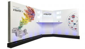 Lit up Interex stand with graphics by GGS