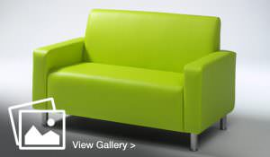 Green leather sofa with metal legs
