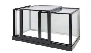 Sliding glass window on white background