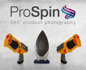 ProSpin photography examples of toy gun and iron