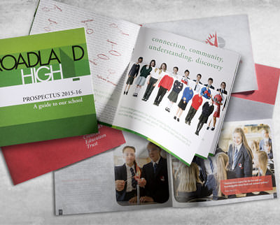 School prospectuses opened to pages