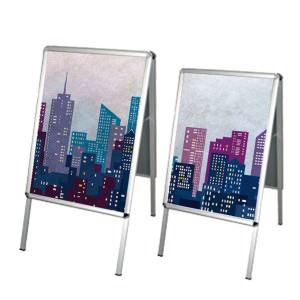 A double sided, easy to load sign board for indoor and outdoor use