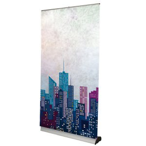 Roller banner stand with wide base