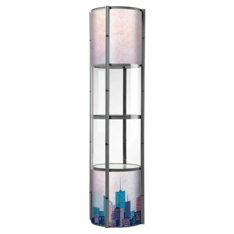 Spiral show tower with 8 graphic panels
