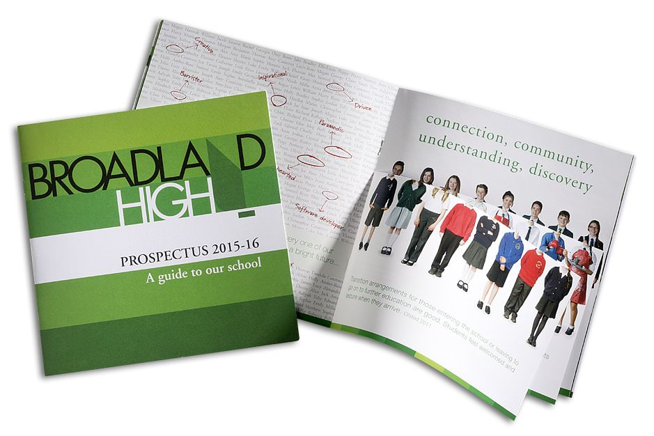 Green branded prospectus with student uniform flipbook in centre