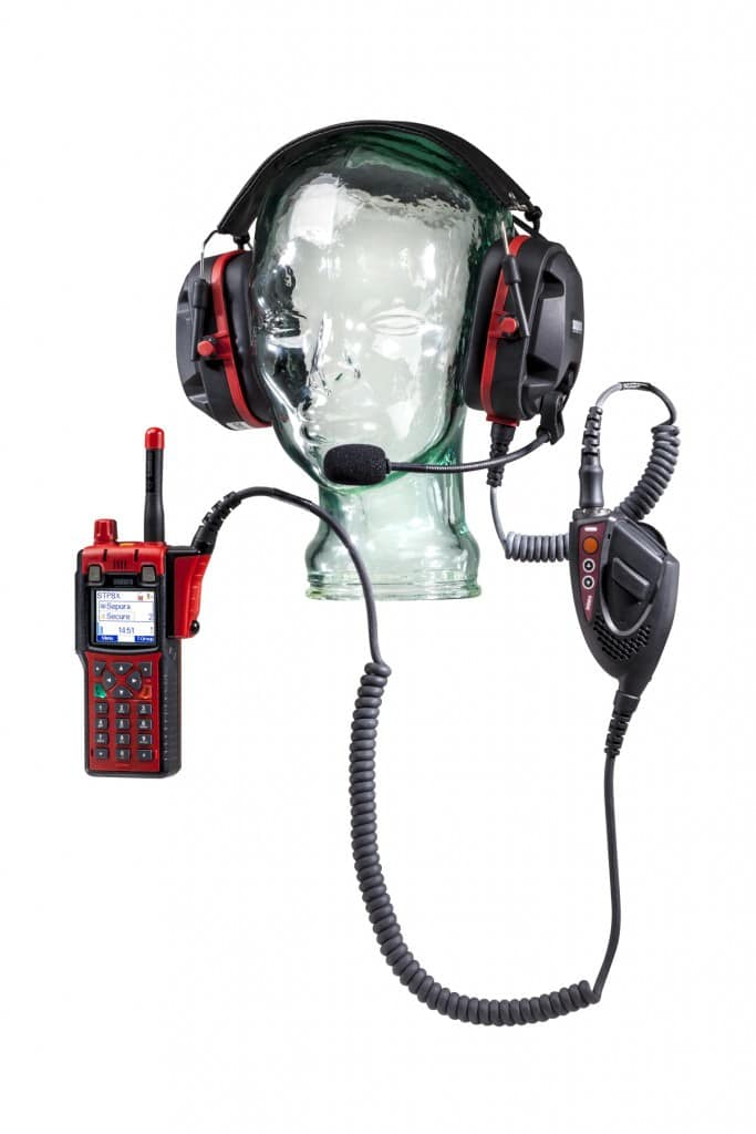 Glass head mannequin with Sepura radio and headset