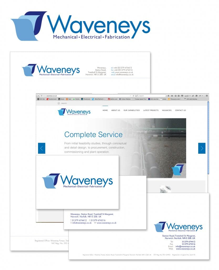 Waveneys branding, logo, letterhead, website and business cards