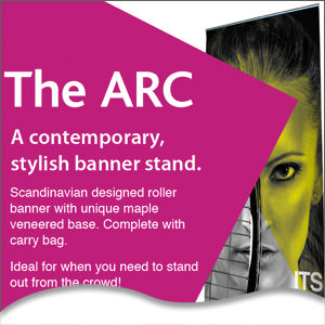 The Arc, a contemporary, stylish banner stand