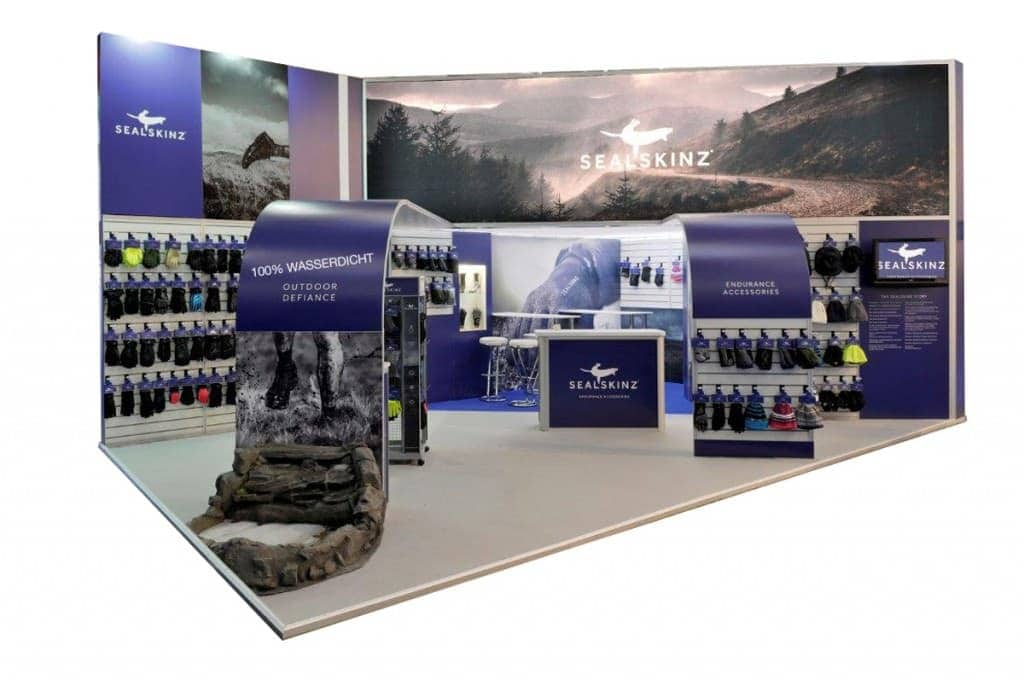 Sealskinz stand with products hanging