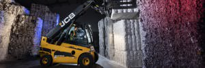 fork lift stacking shredded paper in factory
