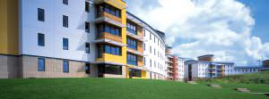 Colourful exterior shot of University accommodation