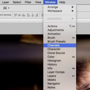 Selecting channels in Photoshop