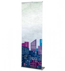 Orient portable banner stand